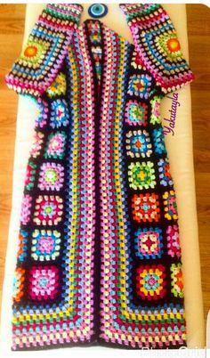 Pull Crochet, Hippie Crochet, Crochet Coat, Crochet Jacket, Crochet Shawl, Crochet Clothes, Hand Crochet, Crochet Skirt Pattern, Granny Square Crochet Pattern