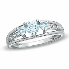 Zales Heart-Shaped Lab-Created Aquamarine Three Stone and Diamond Accent Ring in Sterling Silver