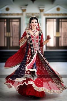 Red and blue Pakistani wedding dress