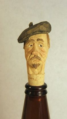 Hand Carved Basswood Frenchman Wine Bottle by ClaudesWoodcarving, $25.00