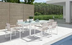 Backyard Pool Design And Sleek Patio Furniture Dining Set Feat Potted Greenery Table Centerpiece Plus Modern Fence Idea