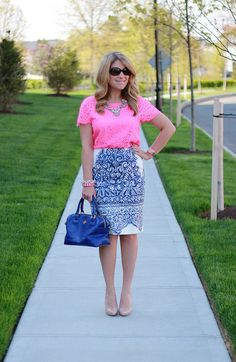 Pink lace, blue printed pencil skirt, work outfit.  Pin now!