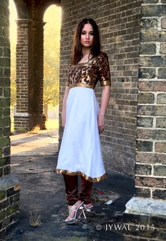 Hand Made Brown And Gold Sequenced Short Sleeve Dress by Jywal