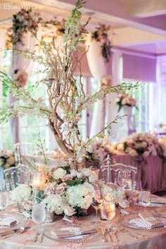 """Although Lynn and Nan's """"Secret Garden"""" wedding was originally planned to take place outdoors, the luxurious celebration planned by Fusion Events and decorated by Decor & More Inc. at the Langdon Hall proved to be nothing short of amazing indoors. From the cake knife to the toasting glasses, receiving table and emblazoned dance floor, every element was personalized. Even the wax seal on …"""