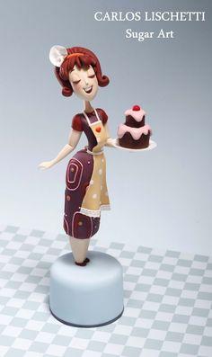Carlos Lischetti: Vintage Housewife  porcelana fria pasta francesa masa flexible fimo fondant figurine modelado topper polymer clay