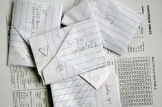 Folded notes... before there was texting!!!