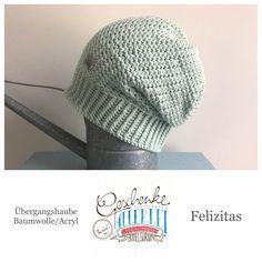 Tunella's Geschenkeallerlei präsentiert: das ist Felizitas, eine geniale gehäkelte Haube/Mütze aus einer Baumwolle/Acryl-Mischung - Du kannst dich warm anziehen, dank sorgfältigem Entwurf, liebevoller Handarbeit und deinem fantastischen Geschmack wirst du umwerfend aussehen. #TunellasGeschenkeallerlei #Häkelei #drumherum #Beanie #Haube #Mütze #handgemacht #Geschenk #Felizitas