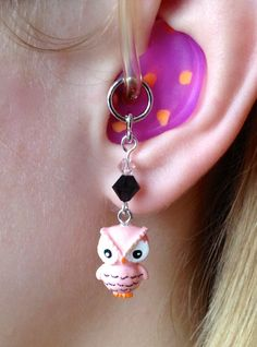 Hearing Aid Charms or Earrings - Peach Owls