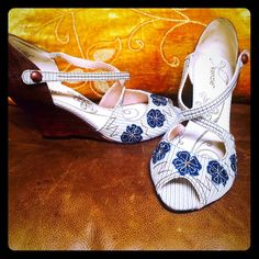 Cute Kenzie peek toe shoe! Brown leather heel with denim and jeweled accents. Worn only once! kenzie Shoes