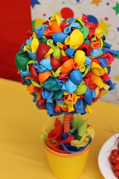 Balloon Topiary, Rainbow First Birthday Party Centerpiece