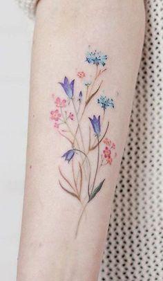 Watercolor Blue Wild Floral Flower Wrist Tattoo Ideas for Women - Acuarela flor. - Watercolor Blue Wild Floral Flower Wrist Tattoo Ideas for Women – Acuarela floral flor antebrazo - Flower Bouquet Tattoo, Flower Wrist Tattoos, Flower Tattoo Back, Small Flower Tattoos, Forearm Tattoos, Finger Tattoos, Body Art Tattoos, Small Tattoos, Floral Tattoos