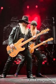 Dusty Hill and Billy Gibbons of ZZ Top. Glam Rock, Rock Chic, Hard Rock, Heavy Metal, Blues Rock, Ozzy Osbourne, Good Music, My Music, Reggae Music