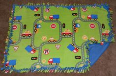 "Roadway with Trucks and Cars Pattern No-Sew Anti-Pill Fleece Blanket 36"" x 52"" Nap Blanket / Daycare Blanket by handmadebyerinn, $33.00 USD"