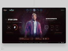 Campaign landing page for Guardians of the Galaxy involving game like UI Game Design, Ui Design, Design Campaign, Galaxy Vol 2, Dashboard Design, Star Lord, Data Visualization, Guardians Of The Galaxy, Behance