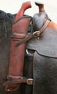 Selling Scabbvards for your rifle. World's premier supplier of Australian Saddles, Tack and Accessories. Gun Holster, Leather Holster, Western Holsters, Leather Projects, Leather Crafts, Cowboy Gear, Horse Tack, Hobby Horse, Custom Leather