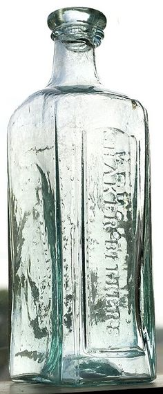 """DR. CORBETT'S - RENOVATING - SHAKER BITTERS"", (Ring/Ham, C-234), American, ca. 1840 - 1860, aqua, 9 1/2""h, open pontil, applied double collar mouth - Glass Works Auctions."