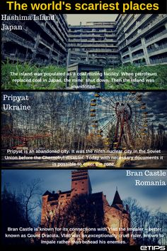 The World's Scariest Places || by eTips Travel Apps || (pics from: http://horoshiyblog.livejournal.com/68710.html, https://www.flickr.com/photos/pixog/, http://imgarcade.com/1/bran-castle-haunted/)