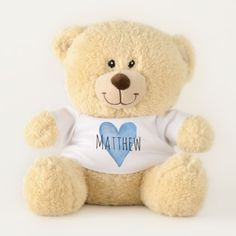 Blue Love Heart Typography with Baby Boy's Name Teddy Bear - watercolor gifts style unique ideas diy
