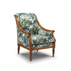 <p>The 'Marlborough' is an upholstered Art Deco style chair featuring a hand polished wooden frame, deluxe feather wrap seat, back and arms in our...