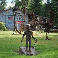 Sculpture garden called Recycled Spirits of Iron by Dan Klennert.  The sculpture Garden is near Mt. Rainier, WA