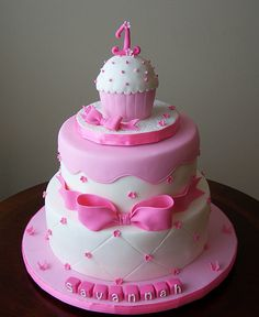 Pink First Birthday cake with smash cake by cakespace - Beth (Chantilly Cake Designs), via Flickr