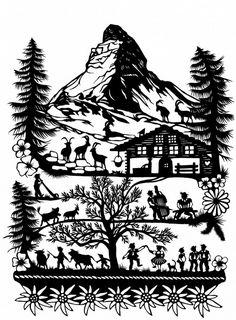 Matterhorn in paper cutting Kitsch, Bandana Design, Mountain Decor, Wood Burning Crafts, Nature Drawing, Fish Design, Garden Boxes, Christmas Projects, Animal Drawings