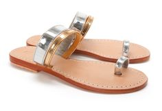 Mystique: Metallic Mix Toe Ring Sandal available at Intermix