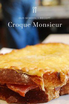 Croque-monsieur, het old-school-recept Sandwiches, Toast Sandwich, Snacks Für Party, Healthy Drinks, Apple Pie, Old School, Desserts, Quiche, French