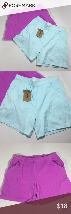 ❤NWT LOT❤ Lands End 100% Cotton Girls Shorts Sz 10 Blue is NWT, Purple is NWOT. Both size 10. Cute details along the functional pockets. Basic and perfect for summer. Elastic waist. Fabric content: 100% Cotton Lands' End Bottoms Shorts