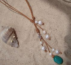 The CHRISTIE Pearl and Leather Necklace  FREE by PaSuLiPearls, $55.00
