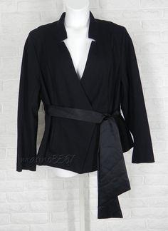 ISABEL TOLEDO for Lane Bryant Belted Ponte Chevron Back Black Knit Jacket NWT 26 #IsabelToledo #BasicJacket #Casual