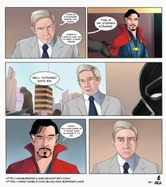 "comic short done! xD When Martin Freeman's character ""Everett Ross"" meets Benedict Cumberbatch's character ""Dr. Strange"" it would be mostly likely they would since black panther is a member of the ..."