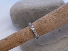 Stackable twig ring ,Engagement or Wedding ring made to order in Sterling Silver with diamond Wedding Ring For Him, Wedding Rings, Twig Ring, Wide Band Rings, Ring Engagement, Unique Jewelry, Silver, Etsy, Estate Engagement Ring