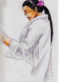 This is a sketch of the lady who put on the white coat I drew in the train.