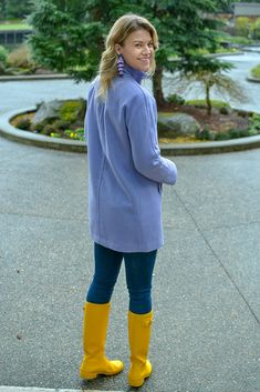 Yellow Rain Boots, Wellies Rain Boots, Hunter Wellies, Hunter Boots, Hunter Outfit, Purple Coat, Outfit Combinations, Womens Clothing Stores, Rain Wear