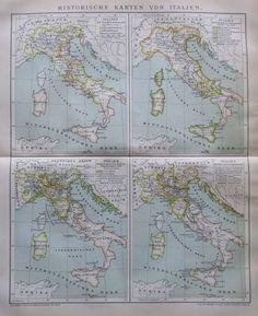 HISTORISCHE KARTEN VON ITALIEN 1894 alte Landkarte antique map Lithografie