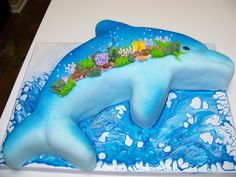 Blue dolphin cake