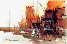 Museu de l'Aquarel·la - J. Martinez Lozano - Llançà Watercolor Landscape, Watercolor And Ink, Art Pictures, Art Pics, Urban Sketchers, Urban Landscape, Sculptures, Art Forms, Sketches