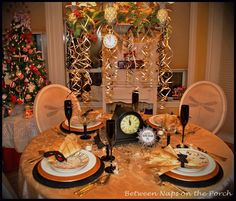 Between Naps on the Porch: New Years!  Resources:  Dinner plates - Butler's Pantry  Clock Salad plates - Pottery Barn, last year  Glasses, placemats - Target  Linens, Chargers & Flatware - Marshall's  Napkin rings; Bow ties for the gents, Masks for the Gals - Avery's, many years ago