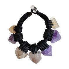 Monies Citrine, Amethyst, and Leather Necklace | 1stdibs.com