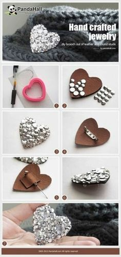 Handmade Pride: Photo Doesn't have to be a heart or even leather, but this is a simple way to show how we're going to make the chair back broaches. Hand crafted jewelry- diy brooch out of leather and round studs<br>
