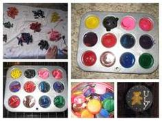 Muffin tin recycled crayons.