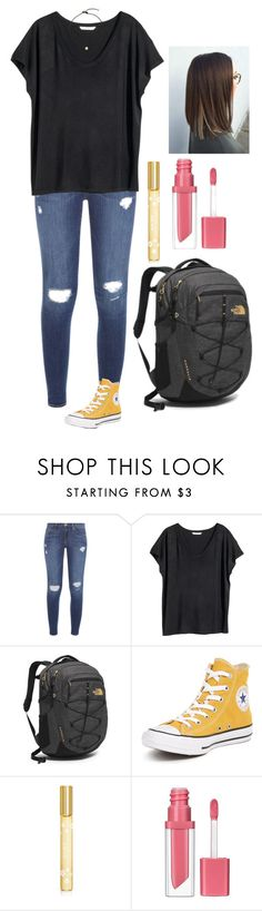 """""""back to school outfit #5"""" by kyleemorrison ❤ liked on Polyvore featuring Frame, H&M, The North Face, Converse, Marc Jacobs and Essence"""