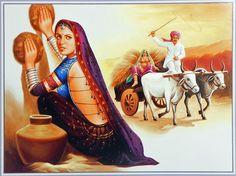 Rajasthani Woman - People Posters (Reprint on Paper - Unframed) Rajasthani Painting, Rajasthani Art, India Poster, Clay Wall Art, India Art, Indian Art Paintings, Old Art, Surreal Art, Acrylic Art