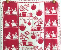 Linen Tea Towel Cook Chef Kitchen Wall Decor Red by NeatoKeen