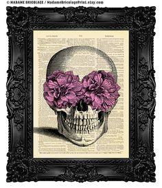 SUGAR SKULL Digital Print, Dictionary Art Print