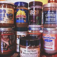 The nutbutter family. #nutbutter #peanutbutter #cookiebutter #almondbutter #sunflowerseedbutter #tahini  #traderjoes #maranatha #pb2 #sunbutter #betternpb #favorite #yummy #foodgasm #vscocam #vsco #Padgram