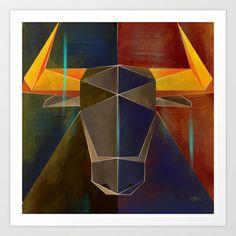 Geometric Bull 1 Art Print Promoters - $95.68