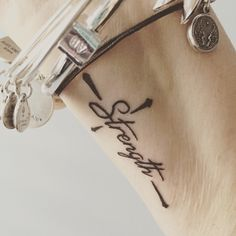 "My wrist tattoo. The word ""Strength"" in a cross. My strength is in Him."