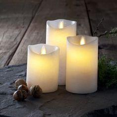 Coffret de 3 bougies avec flamme dansante